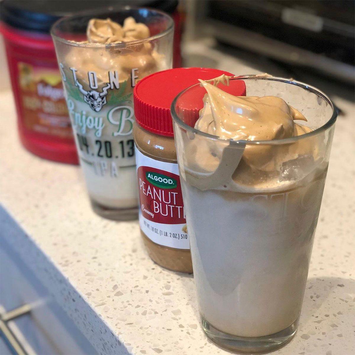 Whipped peanut butter dalgona