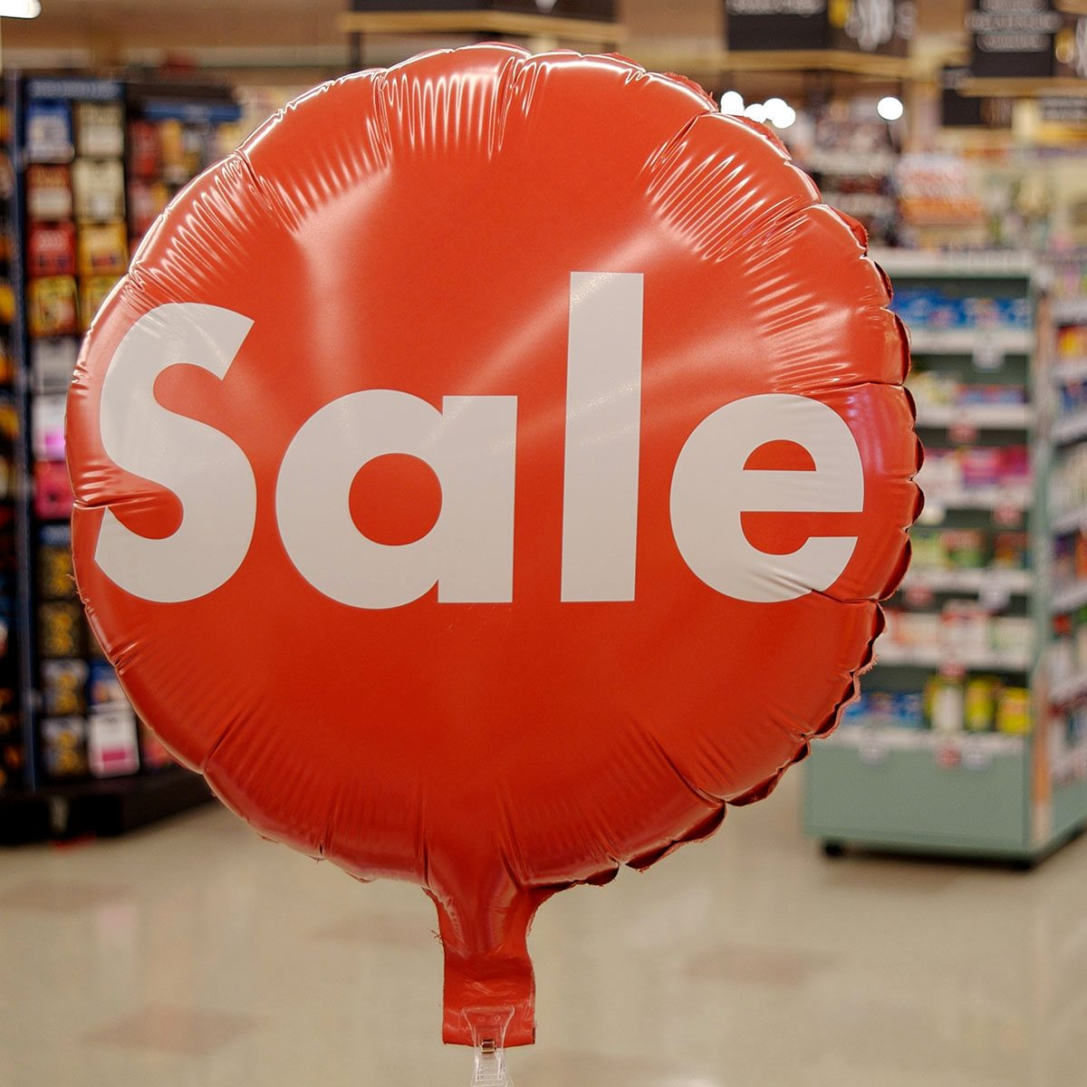Sale balloon in grocery store
