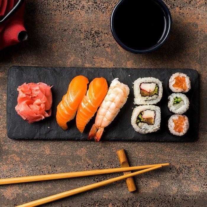 Set of Japanese sushi. Close up