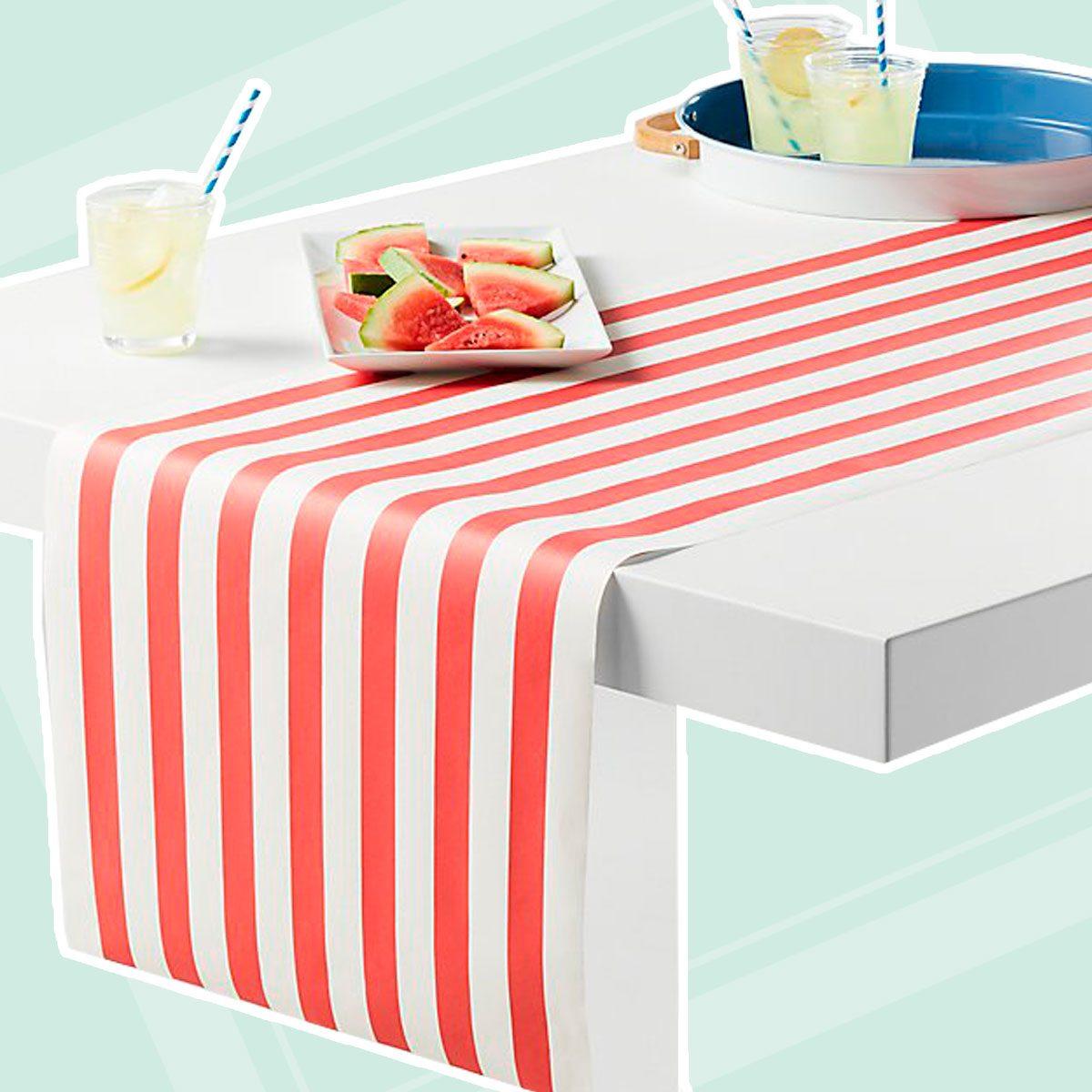 Red Stripe Paper Table Runner
