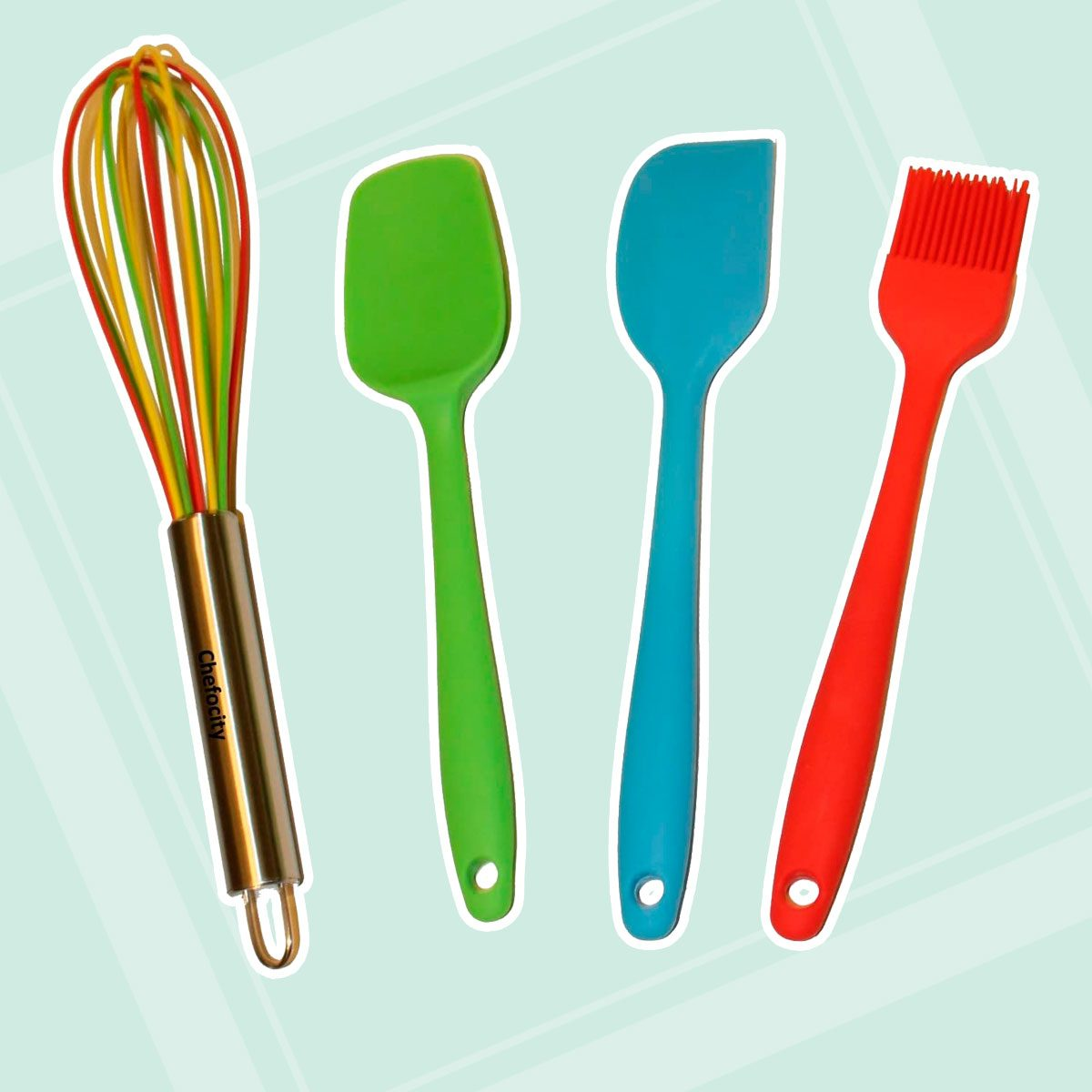 Kids Baking Set - 4 Piece Kids Cooking Utensils - Small Silicone Kitchen Tools for Kids or Adults - Whisk, Basting Brush, Scraper, Spatula.