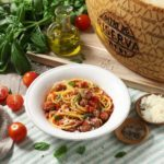 Spaghetti and Meatballs with Grana Padano Cheese