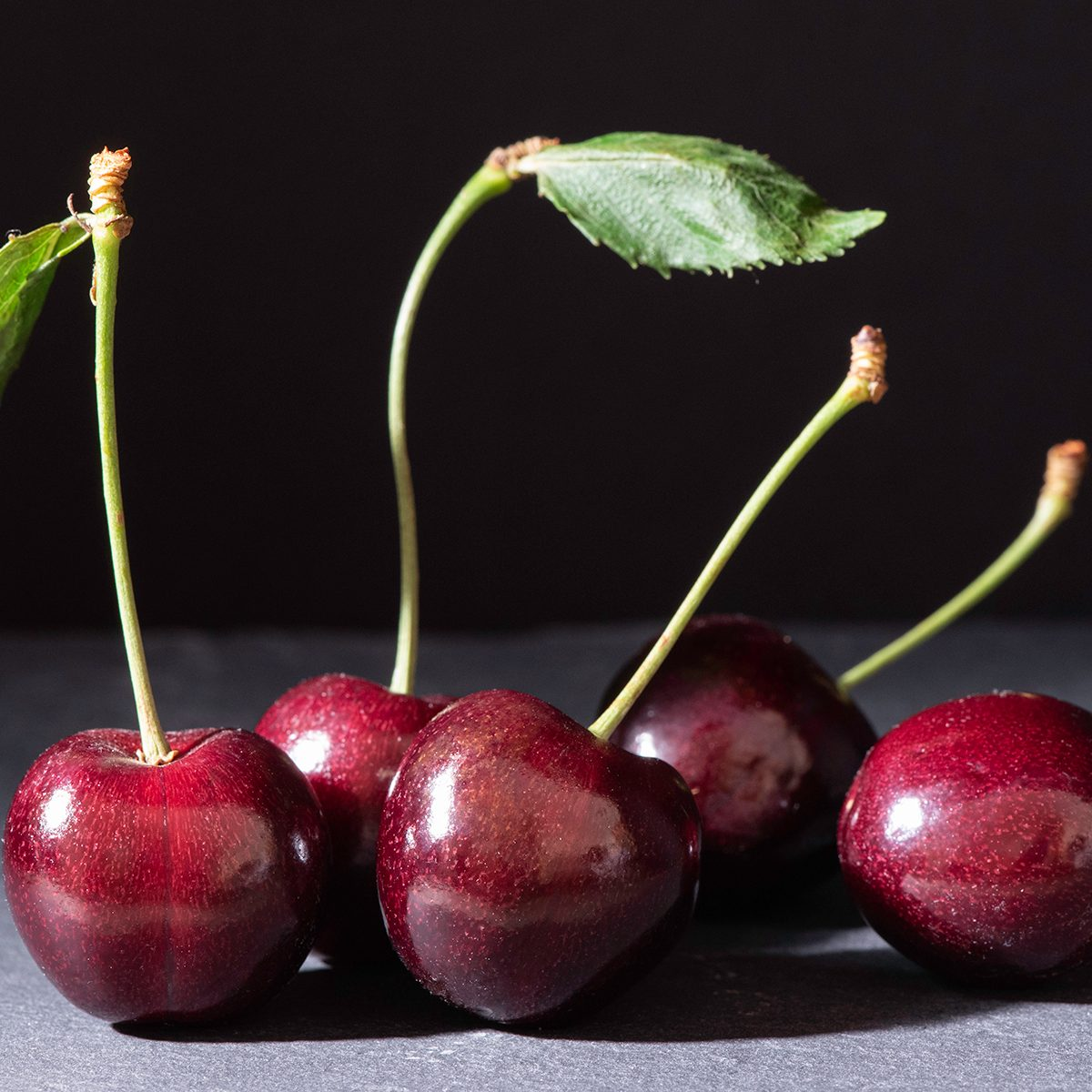 Cherries on slate, shot with limited side light