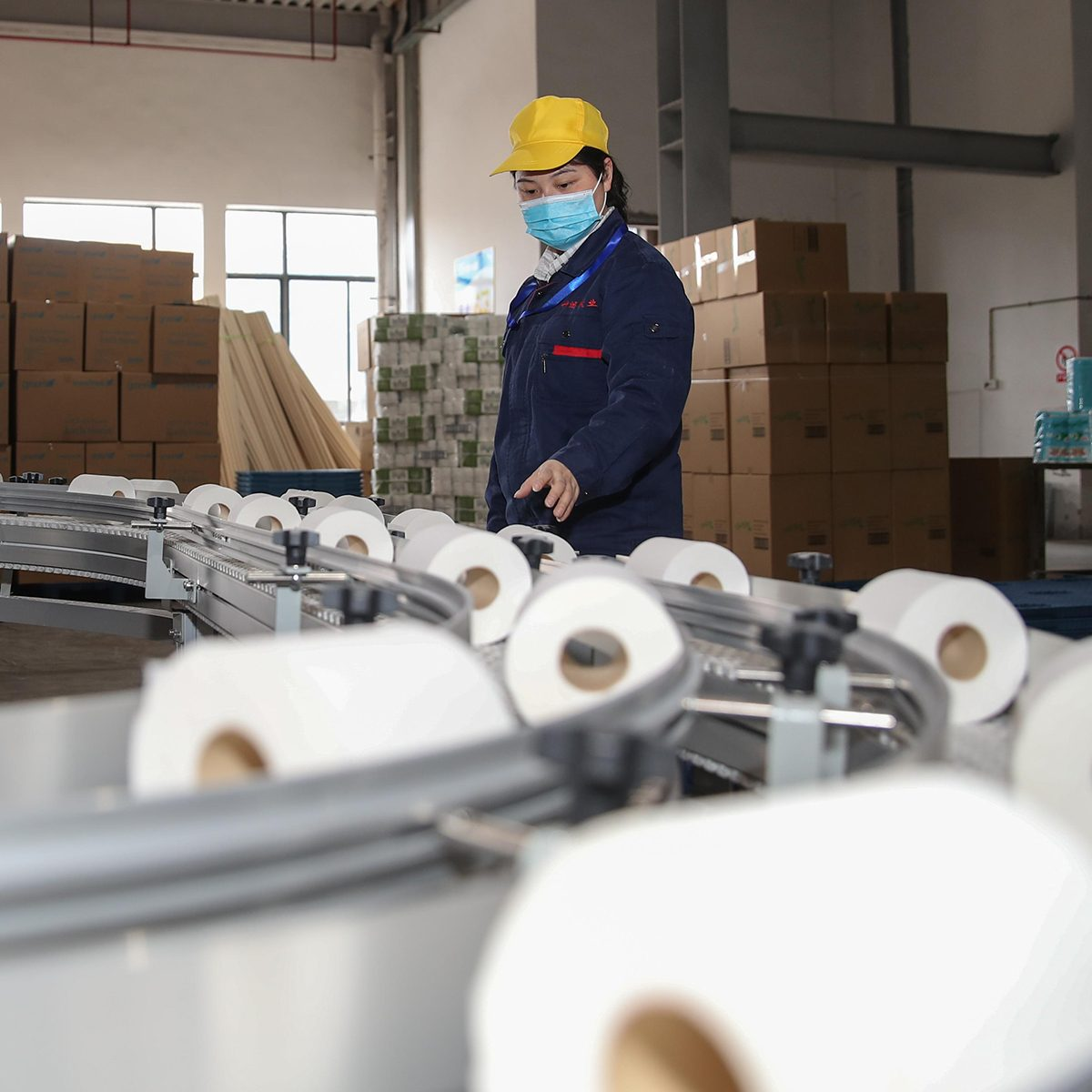 CHISHUI, CHINA - APRIL 24: An employee produces toilet paper for exporting on the production line of a paper company on April 24, 2020 in Chishui, Guizhou Province of China. (Photo by Qu Honglun/China News Service via Getty Images)