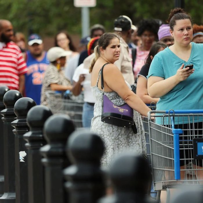 Large crowd outside a Walmart