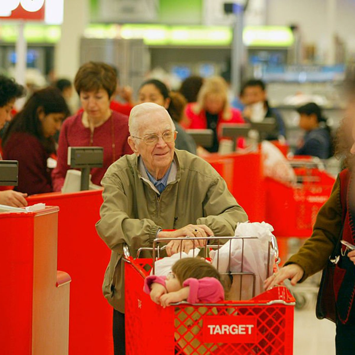 Old man leaving Target checkouts