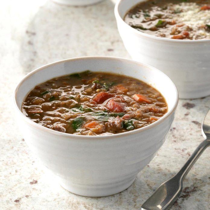 Pressure-Cooker Lentil and Sausage Soup