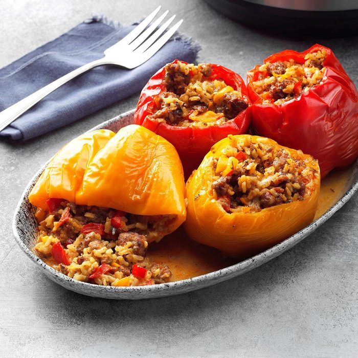 Pressure Cooker Spicy Sausage And Blue Cheese Peppers Exps Thcom19 234644 B01 25 1b 1