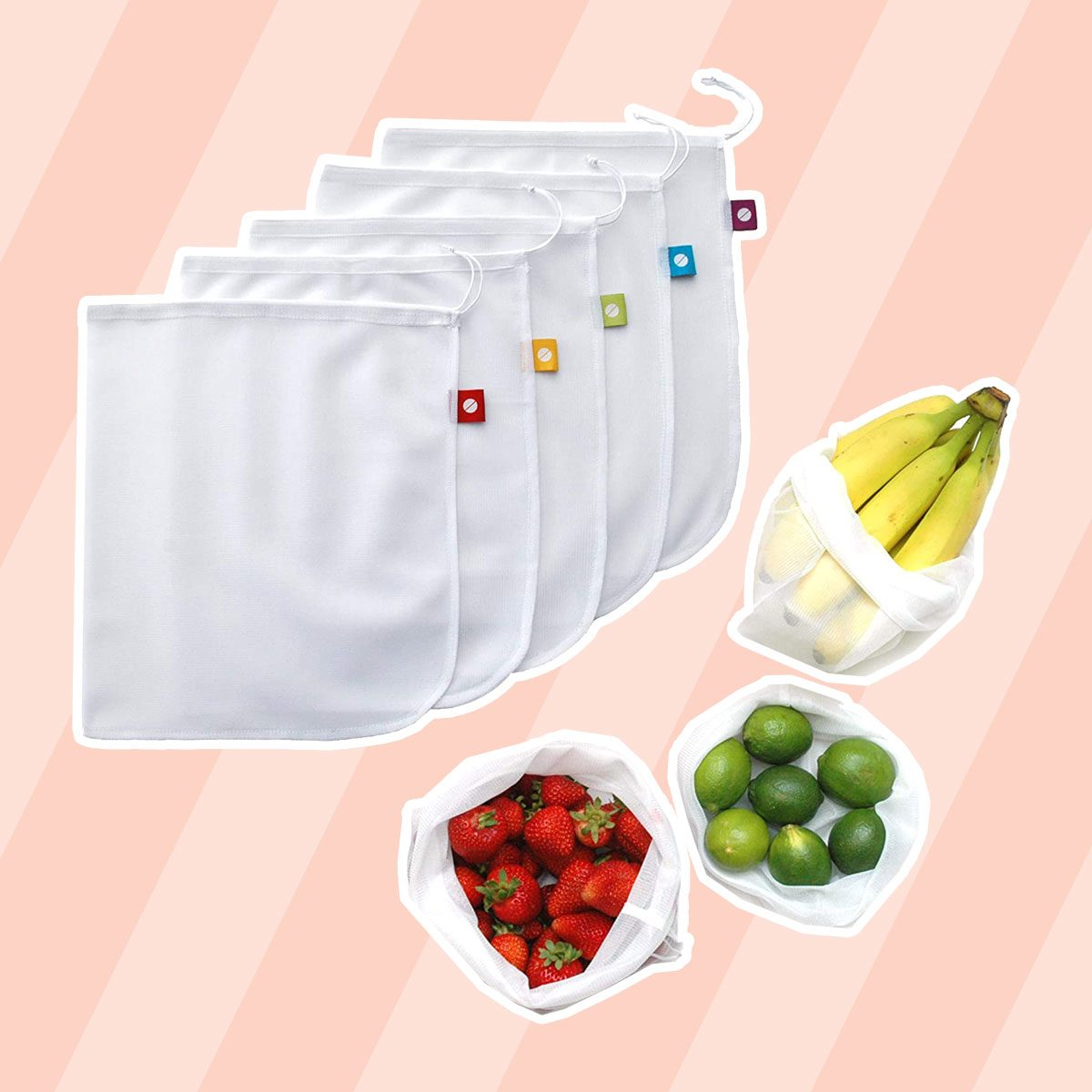 Reusable Produce Bags, Washable Mesh Bags for Fruits and Vegetables, Set of 5 - Flip and Tumble