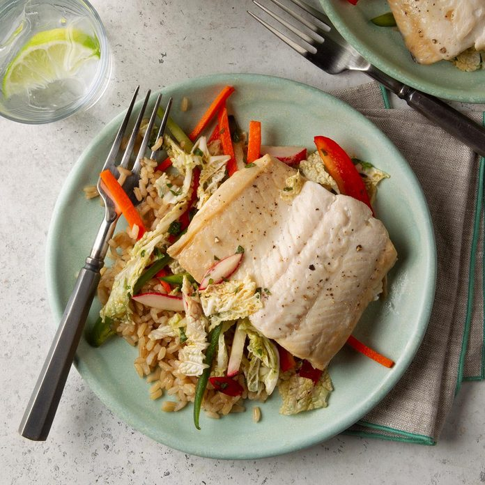 Sake-Steamed Sole with Spicy Slaw