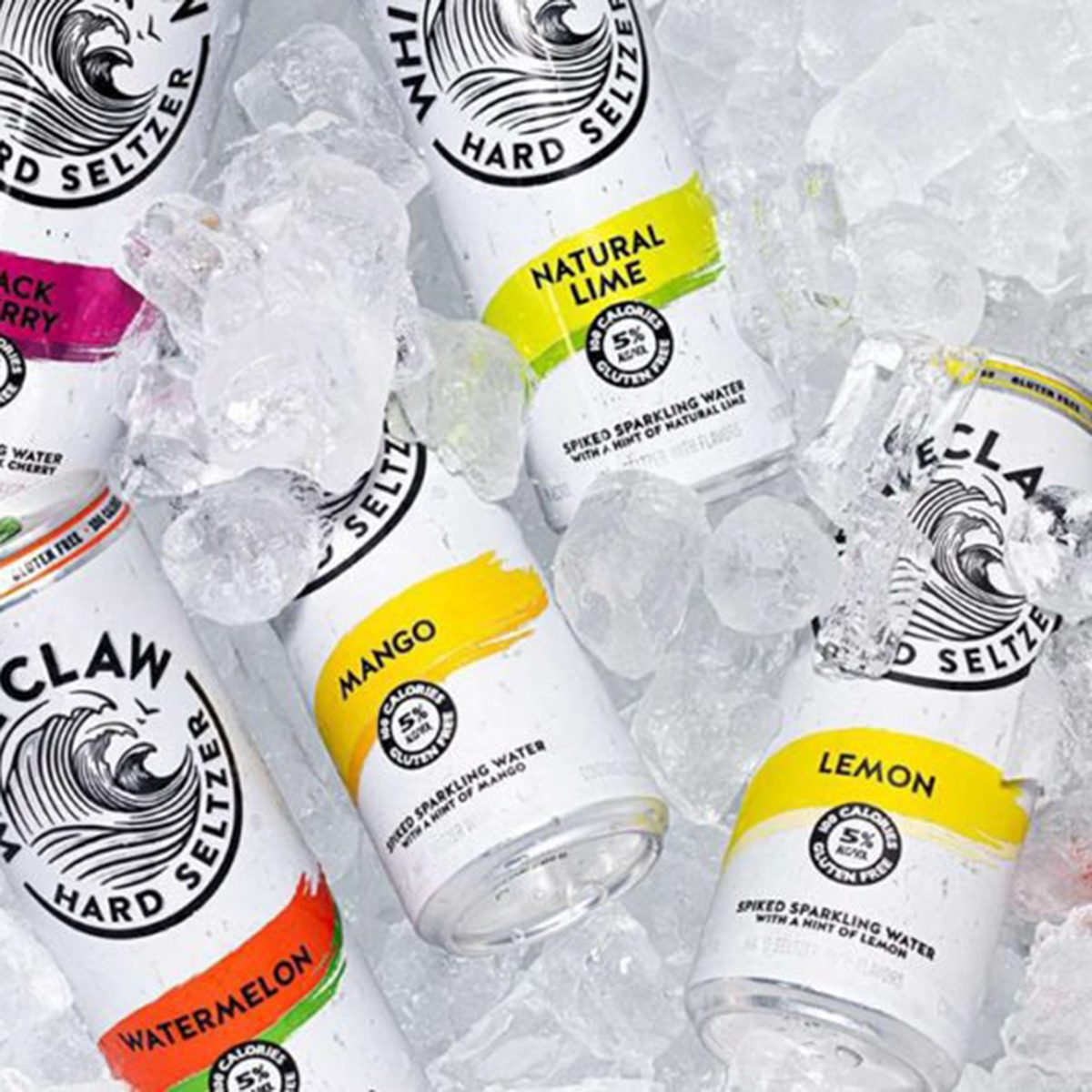 Multiple White Claw cans on ice