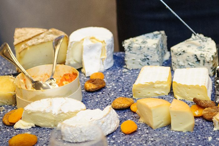 Amazing selection of cheeses offered at table-side at a luxury hotel restaurant in Deauville, France.