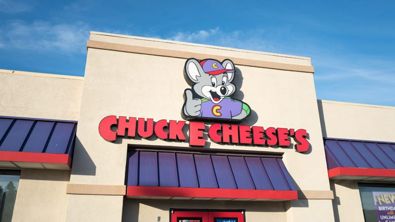 Logo and sign on facade of Chuck E Cheese's children's activity company in Dublin, California, July 23, 2018. (Photo by Smith Collection/Gado/Getty Images)