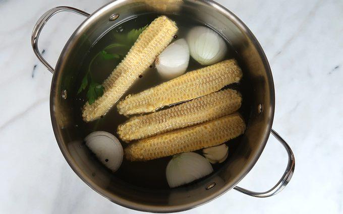 horizontal image corn stock ingredients in pot