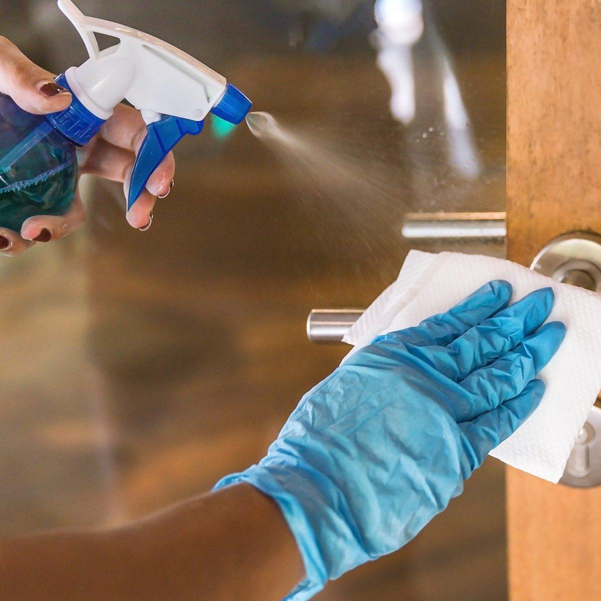 Disinfecting door handle