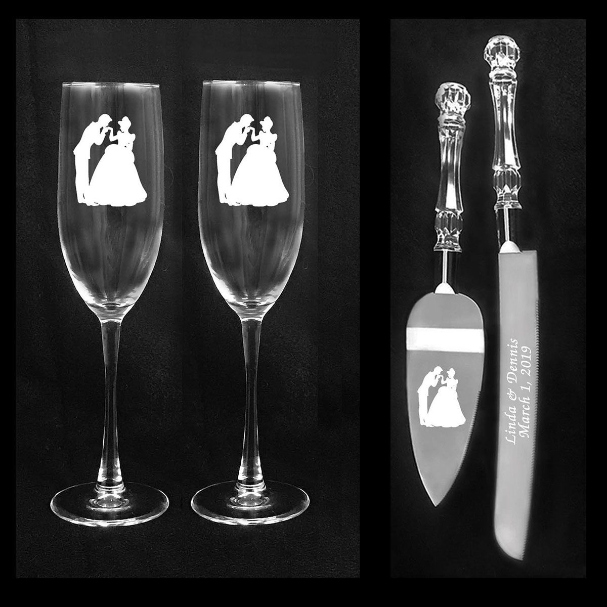 Cinderella and Prince Charming Wedding glasses and knife set Engraving and shipping FREE