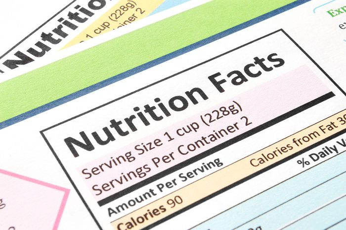 Close up of nutrition facts label
