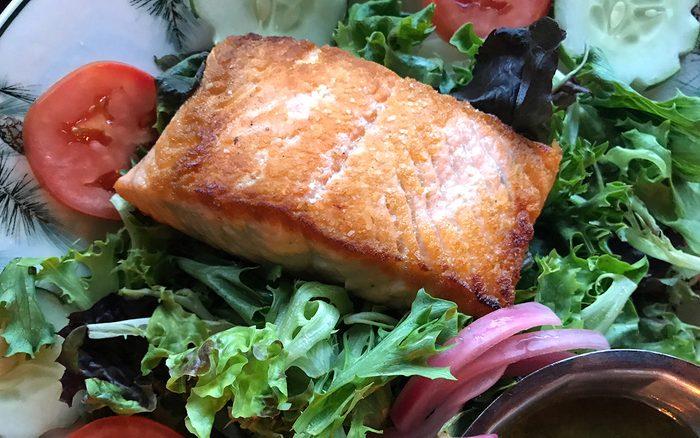 horizontal image salmon salad
