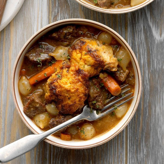 Short Rib Stew with Biscuit Topping
