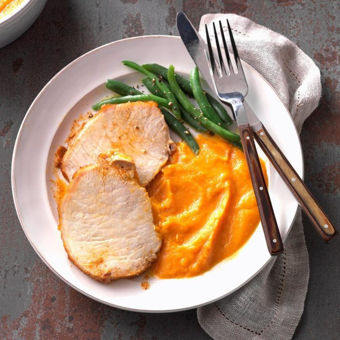 Day 1: Cajun Pork Loin with Sweet Potato Puree