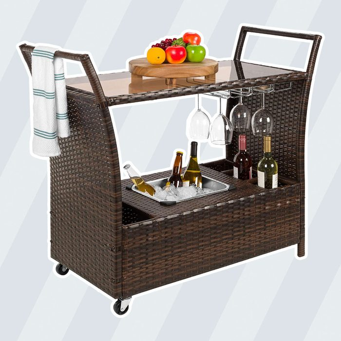 Best Choice Products Wicker Outdoor Rolling Bar Cart w/Ice Bucket, Glass Countertop, Glass Holders, Storage - Brown