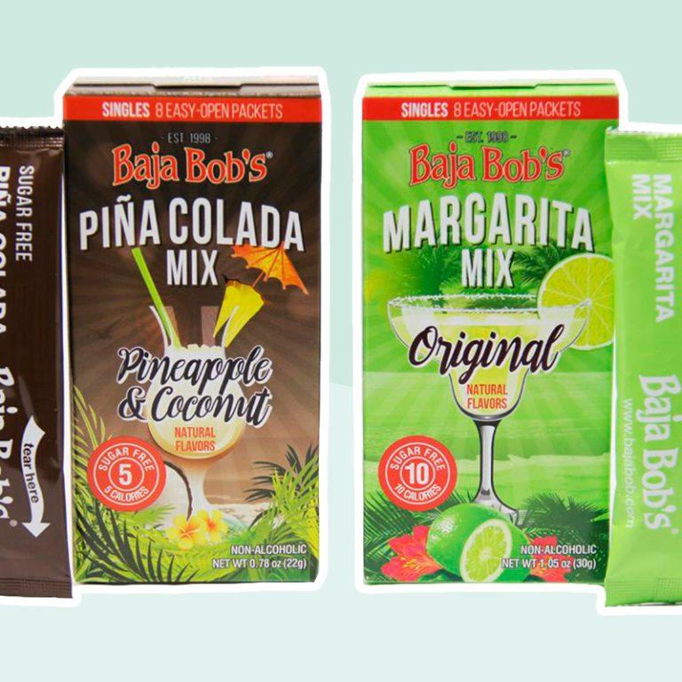 Baja Bob's Sugar Free Cocktail Mix Singles - Variety Pack (1 - Original Margarita and 1 - Pina Colada)