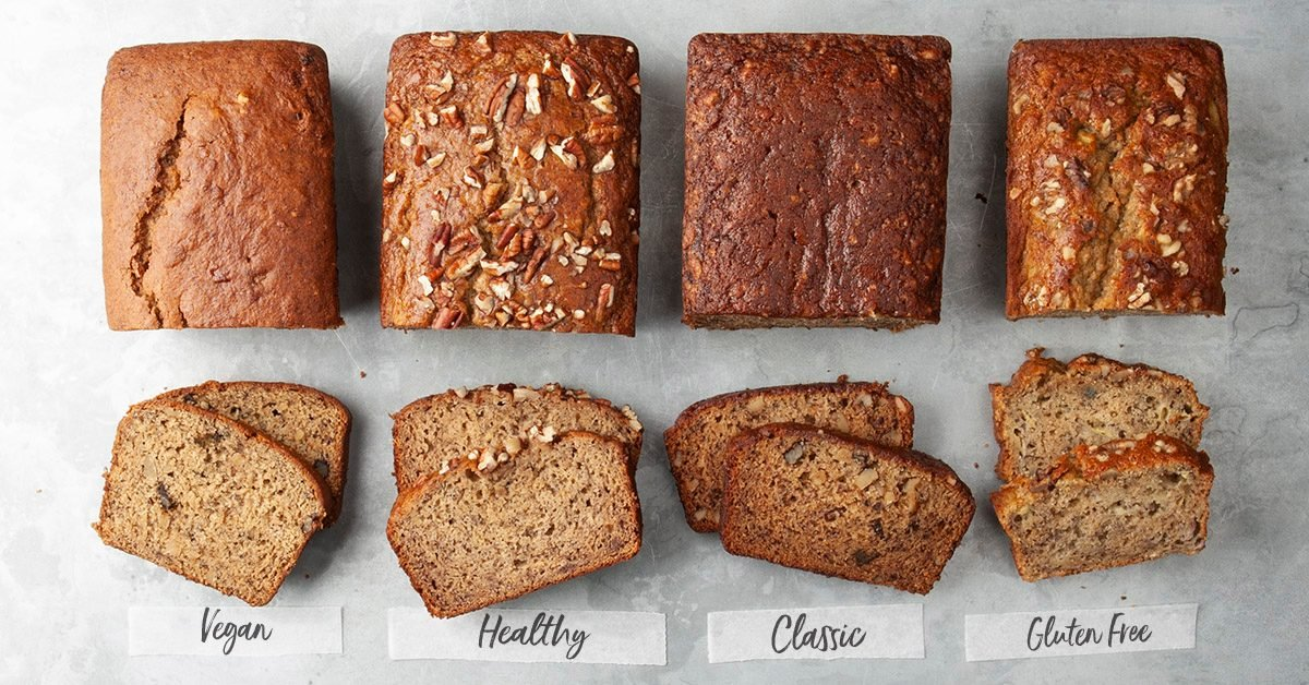 four banana breads in a row: vegan, healthy, classic and gluten free