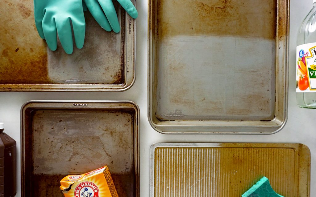 lead image for consideration - cleaning baking sheets with four different methods