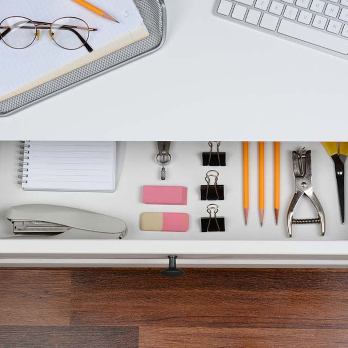Desk with open drawer