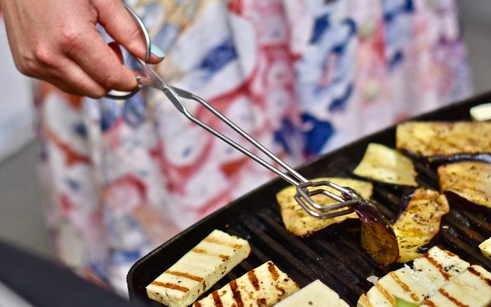 Halloumi And Vegetables On Barbecue Grill