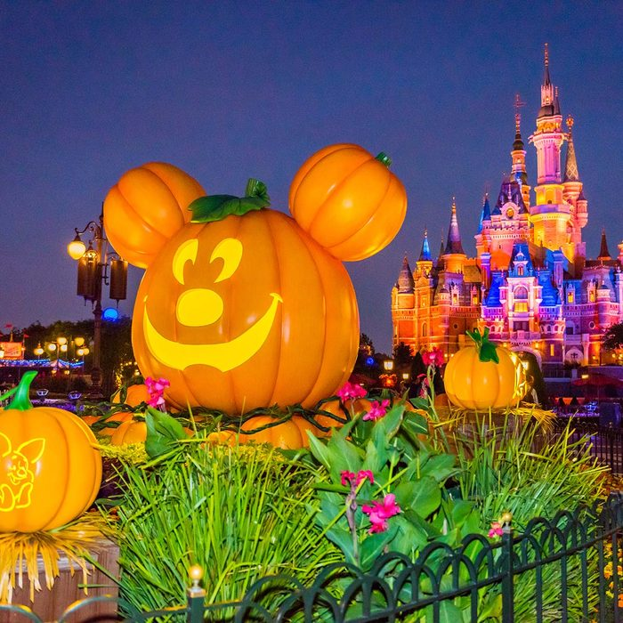 SHANGHAI, CHINA - OCTOBER 14: A Halloween themed pumpkin featuring Disney character Mickey Mouse is on display at Shanghai Disney Resort on October 14, 2018 in Shanghai, China. Shanghai Disney Resort celebrates the upcoming Halloween with lots of decorations and activities. (Photo by Visual China Group via Getty Images/Visual China Group via Getty Images)