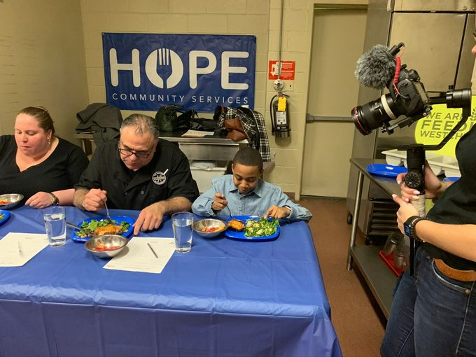 Hope sponsored event, judges trying dishes