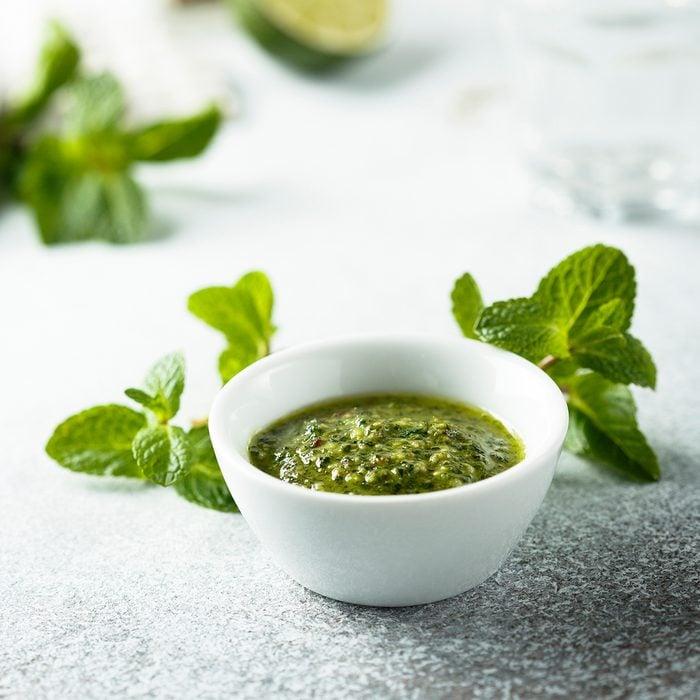 Homemade fresh mint sauce