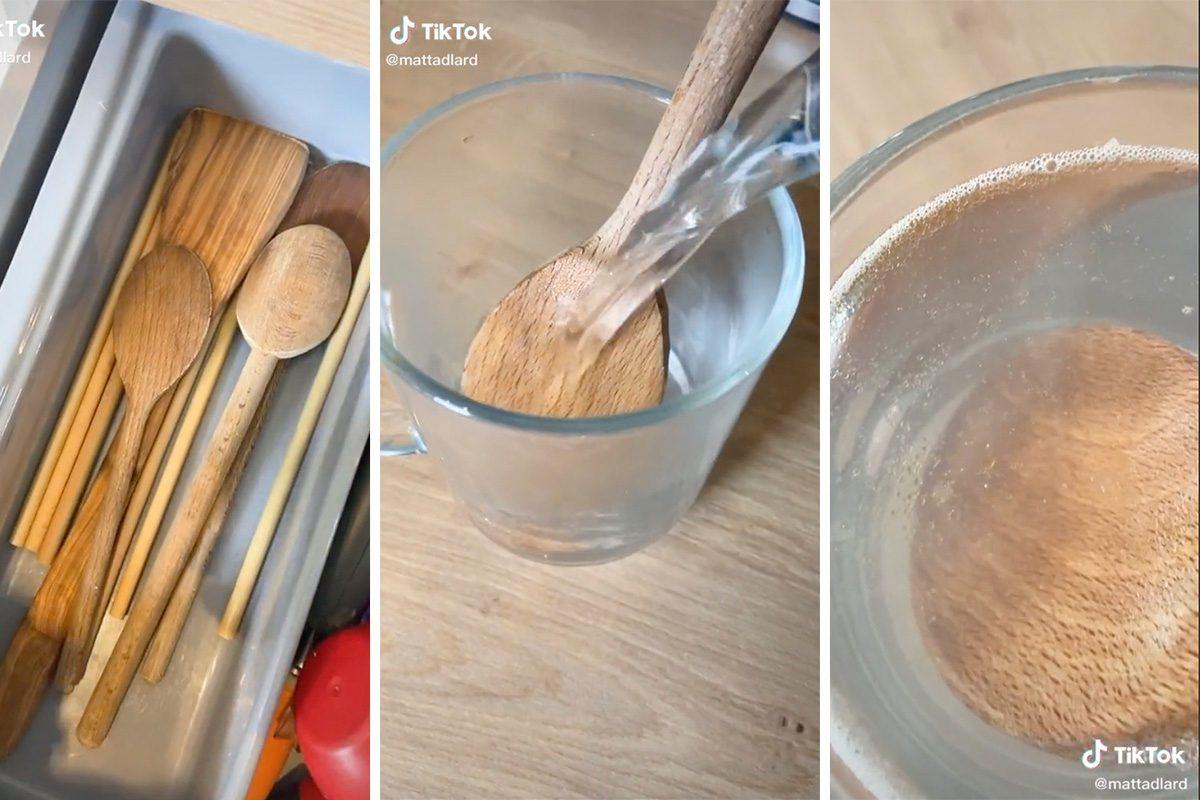 TikTok hack on how to clean your wooden utensils