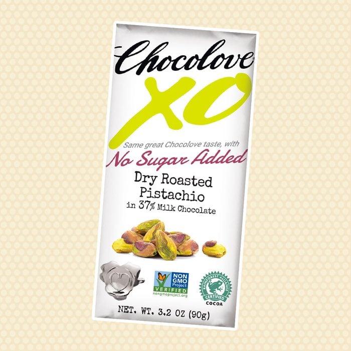 Chocolove XO No Sugar Added Milk Chocolate Bar with Dry Roasted Pistachio