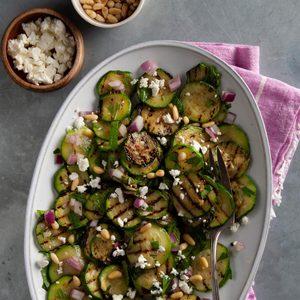 Grilled Zucchini Salad with Mediterranean Dressing