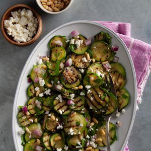Grilled Zucchini Salad with Mediterranean Dressing