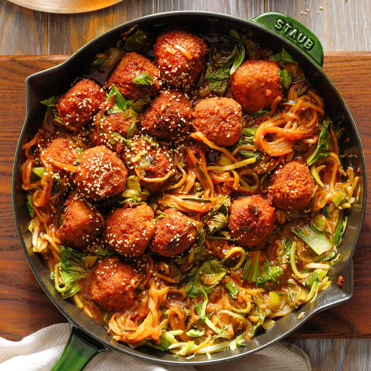 Runner-Up: Plum Pork Spicy Meatballs with Bok Choy and Zucchini