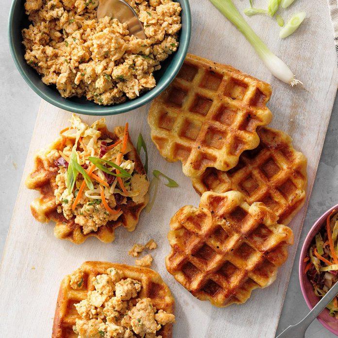 Peanut-Cilantro Ground Chicken and Waffles