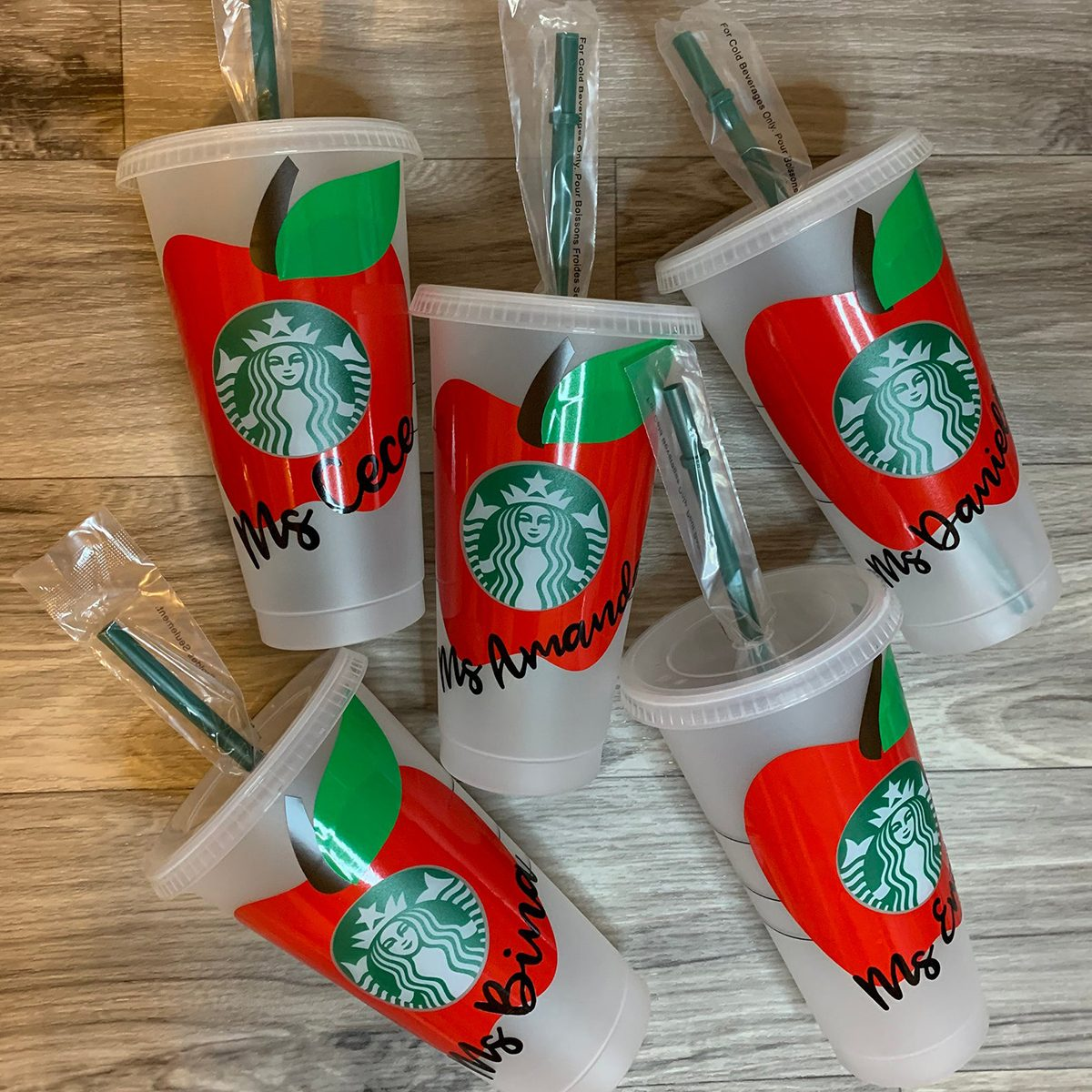 Apple Teacher Reusable Starbucks Cold Cups