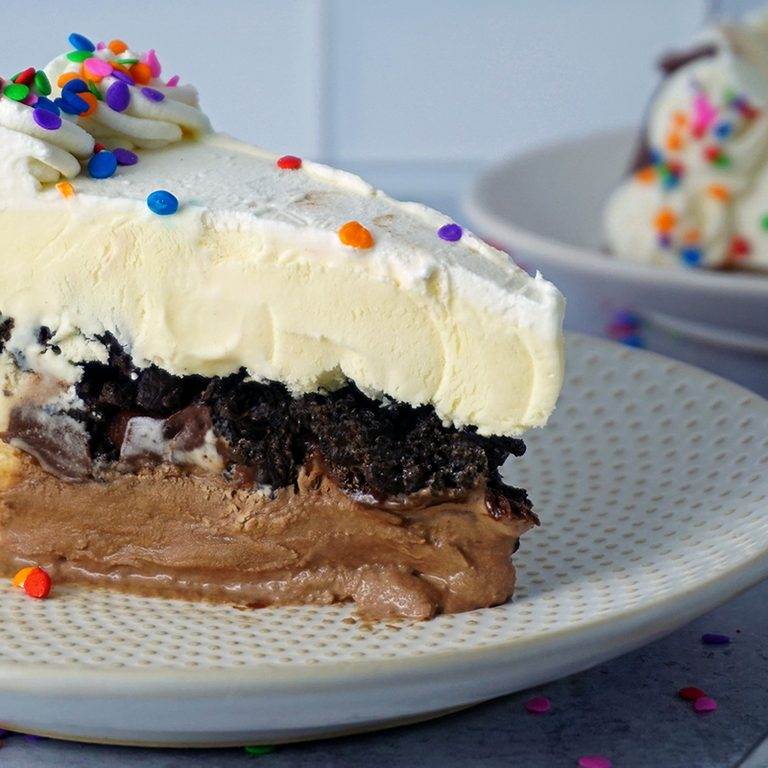 two slices of homemade ice cream cake profile view