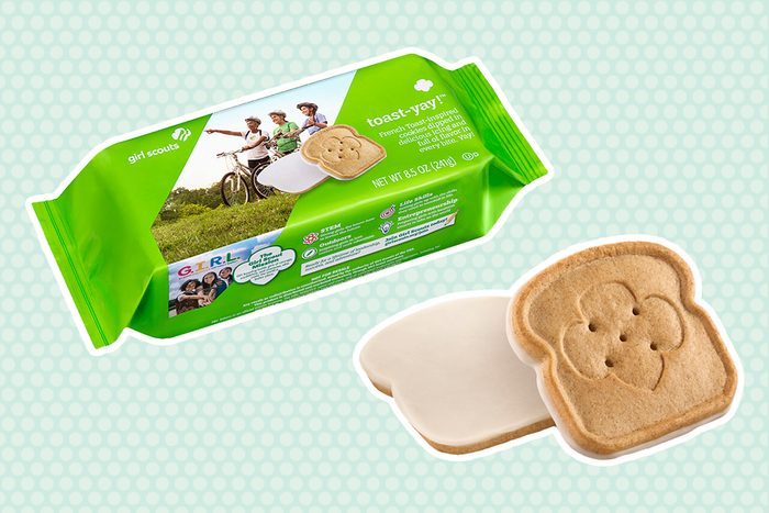 Girl Scouts New Toast-Yay!™, a French toast–inspired cookie dipped in delicious icing and full of flavor in every bite.