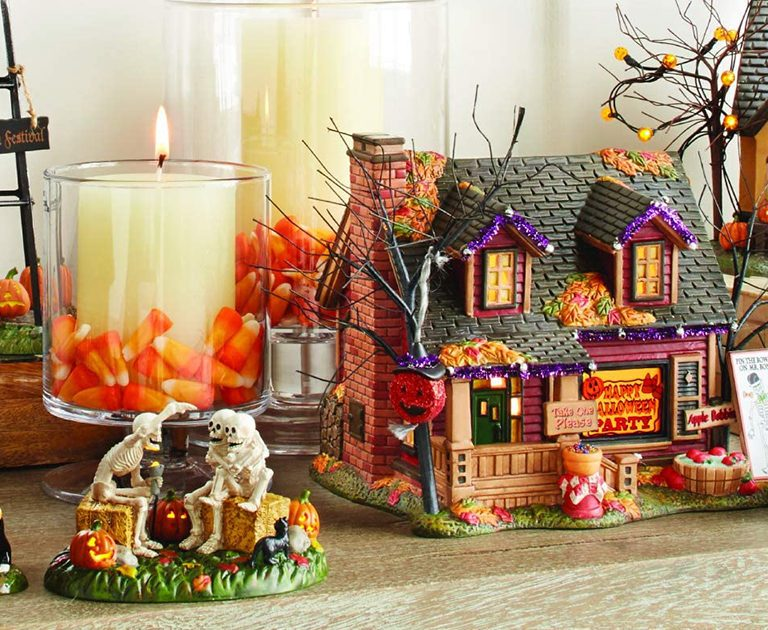 Department 56 Snow Village Halloween Trick or Treat Lane Party House Lit Building, 6.1 Inch, Multicolor crop