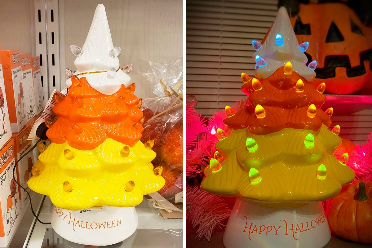 Halloween 2020 Candy Corn Tree HomeGoods Is Selling a Candy Corn Inspired Ceramic Halloween Tree