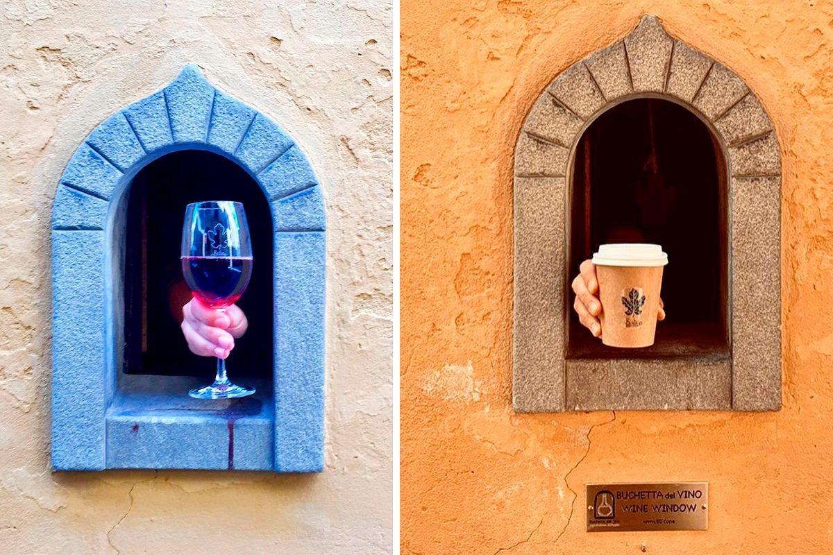 Italian wine doors side by side