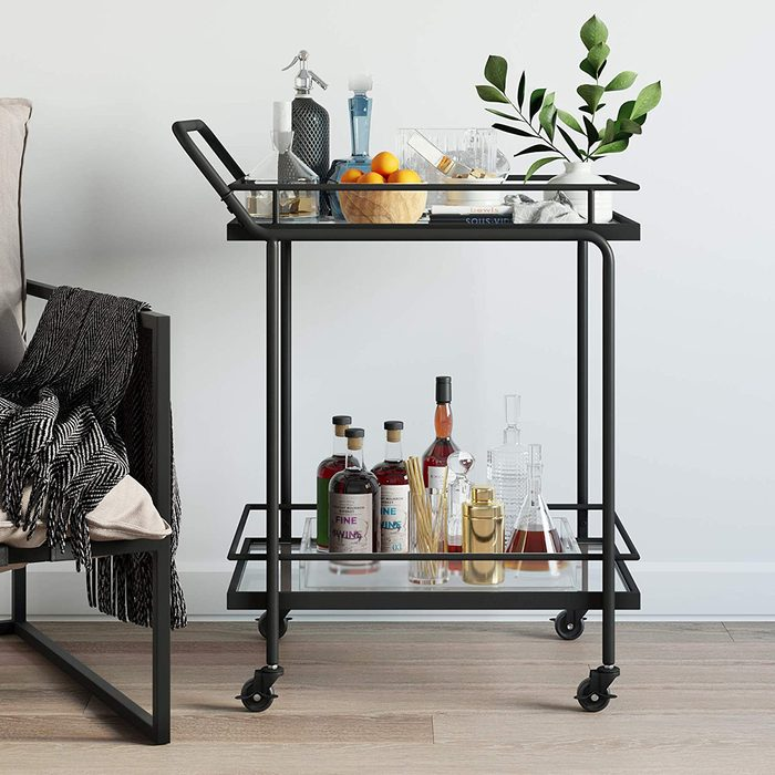 MinimNathan James Sally Rolling Bar or Cart for Tea or Cocktail, 2-Tiered Glass and Metal, Blackalist Bar Cart