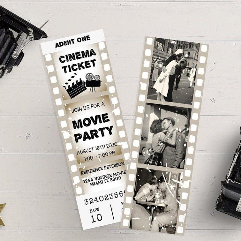 MOVIE TICKET invitation, invitation birthday editable, invitation Editable Template, vintage movie printable, card birthday decor gold 6x2