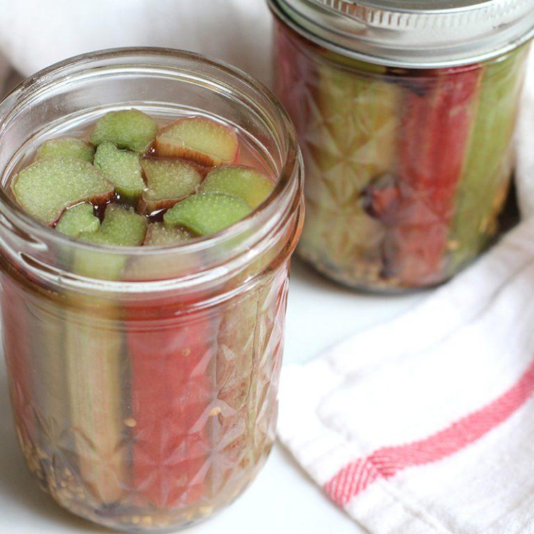 final shot, pickled rhubarb in jars