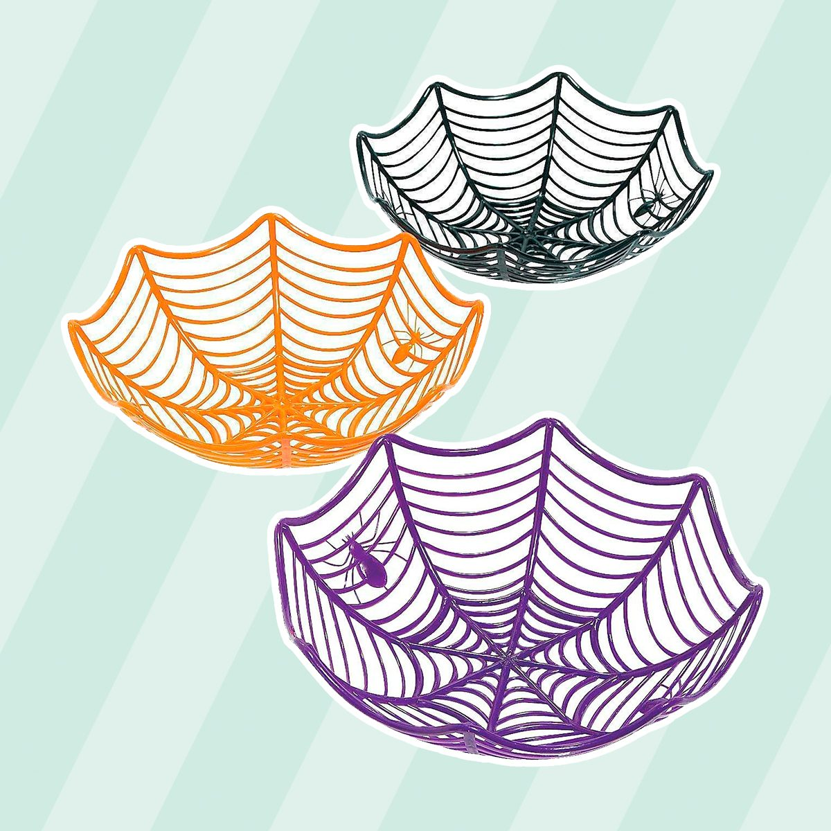 Fun Express Plastic Spider Web Multicolor Candy Bowls | 2-Pack (6 Count) | Great for Halloween-Themed Parties | Children Age 3+