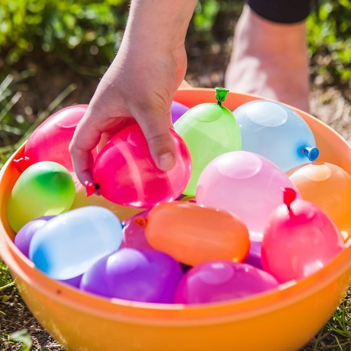 colorful water bombs in summer ready to play